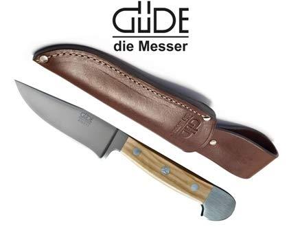 Güde Jagdnicker, Jagdmesser, Griff aus Olivenholz mit gratis Lederscheide