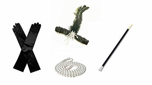Accessoire-Set im Stil der 1920er-Jahre, inkl. Perlenkette, Haarband, Handschuhe und (1920er Kostüme Jahre Der Kinder)