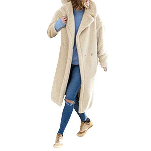 Mantel Damen REALIKE Frau Elegant Revers Strickfleecejacke Tasche Lang Fleecemantel Vintage Teddy-Fleece Mantel Herbst Winter Jacke...