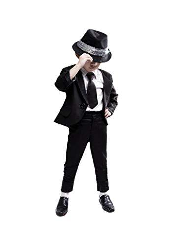 Shuanghao Michael Jackson Space Dance Cos Kid Erwachsene Cosplay Kostüm 6pcs MJ gefährliche Klage Jacke + Hosen + weißes Hemd + Handschuhe + Krawatte + Handschuhe (140cm)