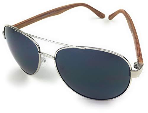 mygoodtime Sonnenbrille Damen Herren Holz Optik Fahrerbrille Pilot Fliegerbrille UV 400 Metallrahmen (Bambus Silber)