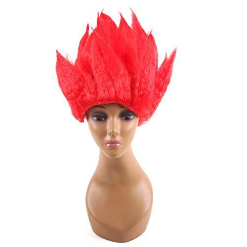 Halloween Fee Feuer Kostüm - Flammen Perücke, Cosplay Kurzes Haar Kostüm Teufel Feuer Dämon Fee Für Kopfbedeckung, Halloween Party, Vier Farben, Eine Größe,Red