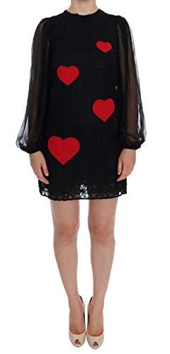 Dolce & Gabbana - Damen Kleid - Black Lace Red Heart Shift Dress - Size: 36 - Dolce & Shift Gabbana