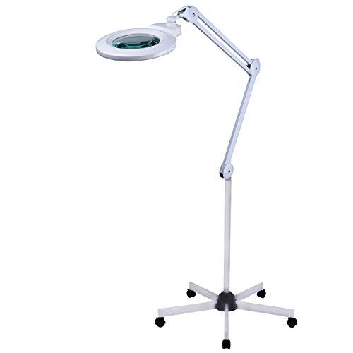 Komerci Lupenleuchte mit Stativ 150mm Wechsellinse 5 Dioptrien, 12W, Lupenlampe Rollstativ...