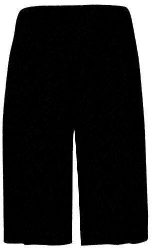Womens Plus Size Cropped Plain Elasticated Waist Stretch Ladies Mini Culottes Shorts