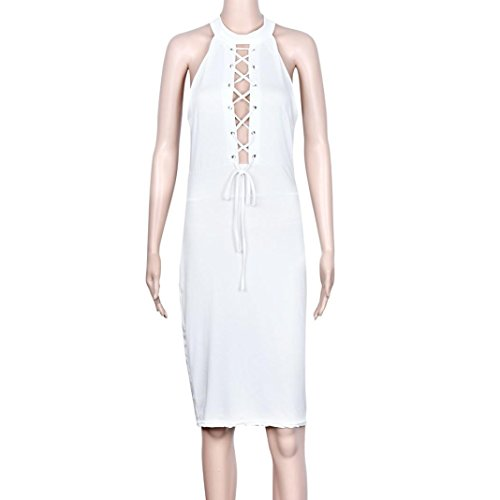 Robe Femme Sexy Bandage club bodycon manches Cocktail Party Tie Up Robe Blanc