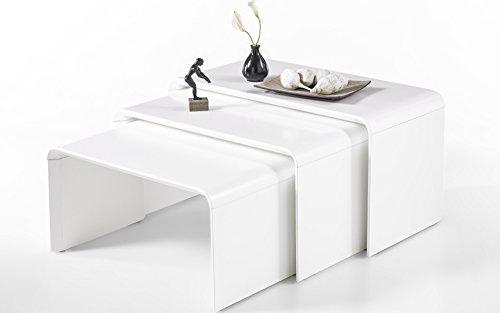 Baidani Designer Couchtisch Beistelltisch Telja 3er-Set matt weiß