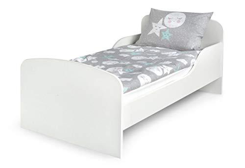 Moderne Lit d'Enfant Toddler Avec Matelas Couleur Blanc Dimensions 140x70 Chambre Pour les Enfants Meubles Pour Enfants Confortable Fonctionnel Lit Simple