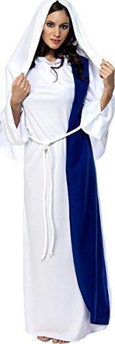 Damen Jungfrau Maria Weihnachten Geburt Religiös Kostüm Kleid Outfit - Weiß, 40-42 (Religiöse Weihnachten Kostüme)