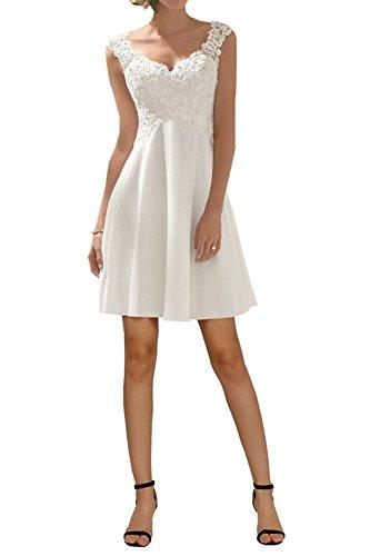 Carnivalprom Damen V-Ausschnitt Hochzeitskleid Kurz Romantisch Brautkleid Festkleid Abendkleider...
