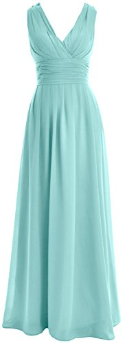 MACloth Women V neck Chiffon Long Bridesmaid Dress Wedding Party Formal Gown Turquoise