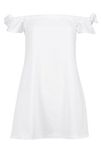 Weiß Damen Petite Lacey Schulterfreies Etuikleid Mit Gebundenen Ärmeln Weiß