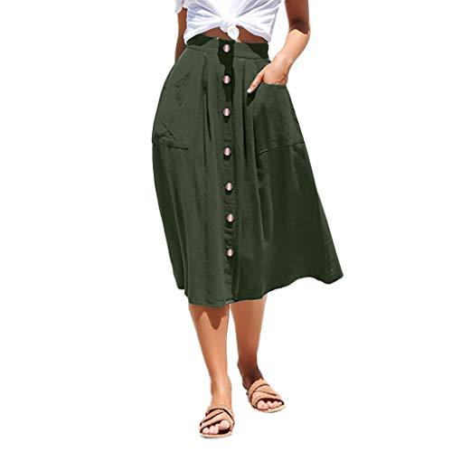 cinnamou Damen Einfaches Kleider Basic Casual A-Linie Skaterkleid Hoch Taille Rock Damen Röcke