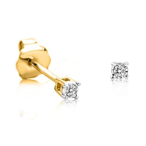 Orovi Ohrstecker Diamant Ohrringe Set,Damen GelbGold Ohrstecker 9Karat (375)Brillanten 0.02crt (Diamant-ohrringe Set)