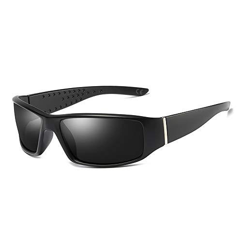 AMZTM Angeln Wandern Sport Sonnenbrillen für Herren Polarisierte Winddicht Brille, Groß Rechteckiger Rahmen Unzerbrechlich TAC Linse, UV Schutz (Matt-schwarz Rahmen Grau Linse)