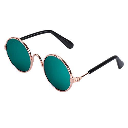 Hund Sonnenbrillen Nette Haustier-Sonnenbrille-Klassische Retro Kreismetallprinzen-Sonnenbrille Für Katzen-Chihuahua Oder Kleine Hunde für Hunde Augenschutz wasserdicht (Farbe : Grün)