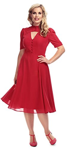 Collectif Damen Kleid Shierley 40s Vintage Keyhole Tea Dress Rot 3XL