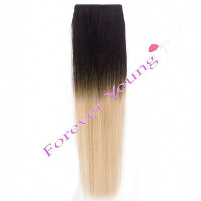 Forever Young Dip Dye Hair Extensions Clip In 100% Echthaar F.a.M.E. Hair Collections Ombre, natürliches Schwarz bis Silber halben Kopf Set 40 g (Extensions Young Hair Forever)