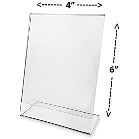 Marketing Holders Sign Holder 4x6 Clear Acrylic Slant Back Counter Top Literature Display Sold in Lots of 20 by Marketing Holders