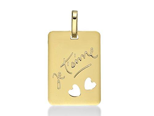 Anhänger Platte rechteckig Ich liebe dich 2Herzen, 16mm, Gelbgold massiv 18K inklusive Geschenkbox
