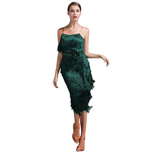 Professionelles Latin Dance Performance Kleid Mit Fransen , Ärmelloser Sling Tanzwettbewerb Kostüm Sexy Rückenfrei (Farbe : Grün, größe : ()