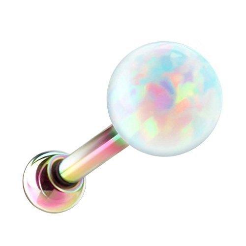 Piersando Tragus Piercing Helix Ohr Cartilage Knorpel Stab Stecker 316 L Chirurgenstahl mit Opal Perle Kugel Rainbow 4mm