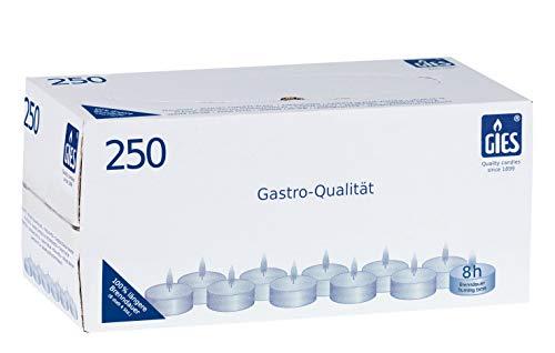 Gies 205-479000-10 - candele tealight, diametro 38 mm, portalumino metallico, durata 8 ore, confezione da 250 pezzi, colore: bianco