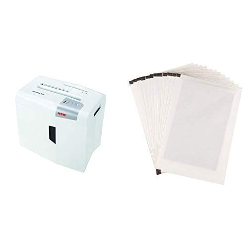 HSM shredstar S10 Aktenvernichter, Sicherheitsstufe P-2, 10 Blatt (Streifenschnitt) mit CD-Schredder & AmazonBasics - Schmiermittelblätter für Aktenvernichter, 12er-Pack (Amazon Basic 12 Blatt Schredder)