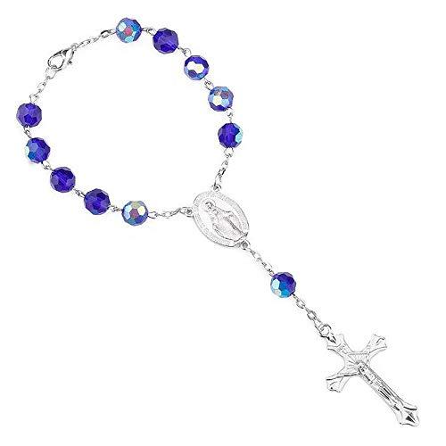 (ANLW Blaues Glas Rosenkranz Katholische Kirche Rosenkranz Armband Jesus Legierung Kreuz Rosenkranz)