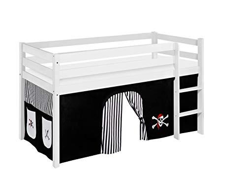 Lilokids Lit Mezzanine JELLE Pirat-Noir-Rayures -lit d'enfant Blanc Rideau - lit 90x190 cm