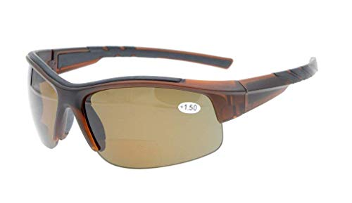 Eyekepper TR90 Unzerbrechliche Sport Bifocal Halbe Rimless Sonnenbrille Baseball Running Angeln Angeln Golf Softball Wandern Brown Frame Braun Linse +1.75