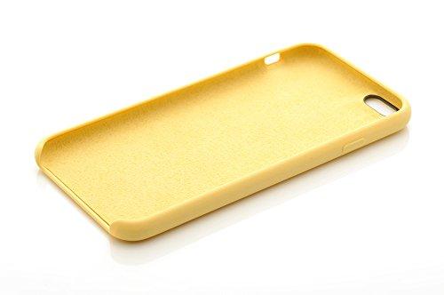 "iProtect Silikon Schutzhülle Apple iPhone 6 Plus (5,5"") Soft case gummiert in Schwarz Gelb"