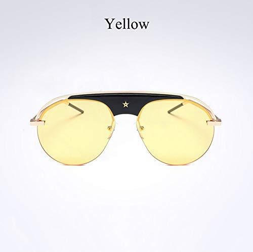 WSKPE Sonnenbrille,Pilot Metall Hälfte Frame Sonnenbrille Frauen Halb Randlose Sonnenbrille Männer Schattierungen Spiegel Uv400 Gold Frame,Gelbe Linse