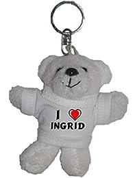 Shopzeus Llavero de Oso marrón de Peluche con Amo Ingrid en la Camiseta  (Nombre de 4077ec94880a6