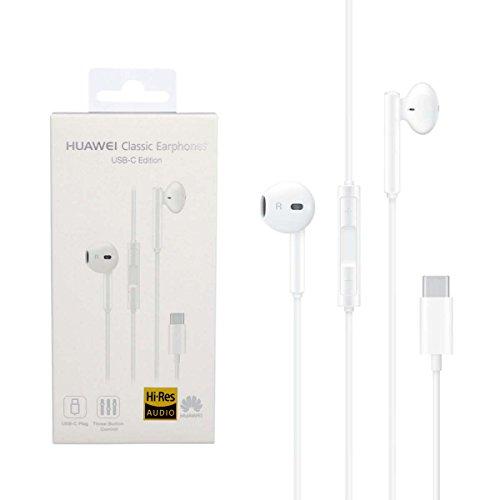 Huawei cm33 auricolari usb type-c cuffie con microfono e tasti volume accessorio originale bianco per mate 10 pro p20 p20 pro p20 lite p9 p9 plus p10 p10 plus nova nova plus