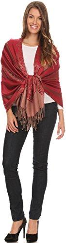 Sakkas Maela Extra Long Large Patterned Traditional Fringe Pashmina Shawl / Scarve Red / Golden