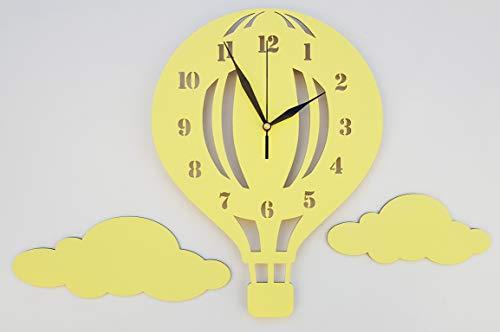 BABEES Kinder Wanduhr Ballon mit Wolken, Uhr ohne Tickgeräusche, Kinderuhr Heißluftballon für Kinderzimmer, Lautlos Uhrwerk, Wanddeko Scandi Deko Jungs Mädchen gelb