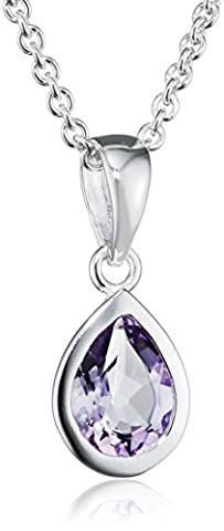 Elements Silver Ladie's Amethyst Teardrop Sterling Silver Pendant with Trace Chain of 46 cm
