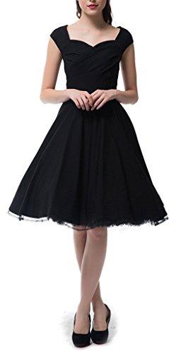 Eudolah Robe Vintage Uni décolletée en coeur sans manche style années 50 Rockabilly Swing Femme Noir