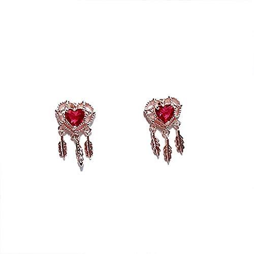 Wguoo s925 argento ago rosso amore cuore cuore diamante acchiappasogni