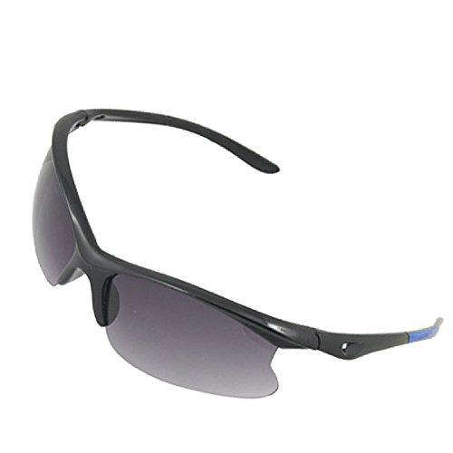 DealMux Unisex Schwarz Blau Plaic Rahmen Rauch Objektiv Sport-Sonnenbrille (Blau Objektiv Rauch)