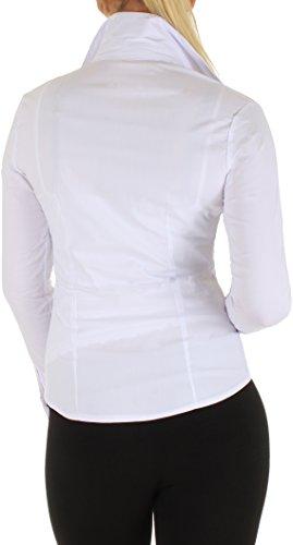 BD Damen Stretch Business Bluse Langarm in schwarz, weiß, dunkelblau oder rot Abbildung 3