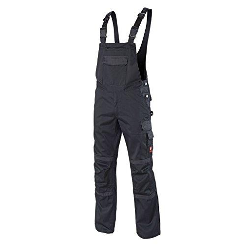Preisvergleich Produktbild Krähe Arbeits-Latzhose Profession Pro Herren – angenehm & strapazierfähig, 11 Taschen, leichter Stoff in schwarz Größe 62