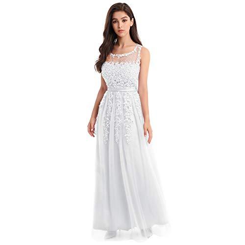 FYMNSI Damen Elegant Spitze Applique Brautjungfernkleid A-Linie Tüll Maxikleid Hochzeitskleid...