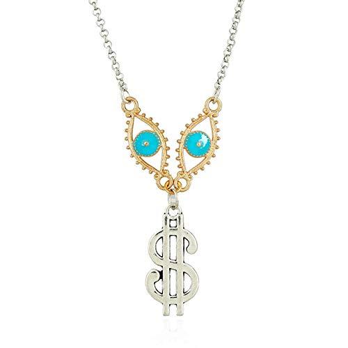 SXYQPD Einfaches Symbol Auge Anhänger Mode Wilden Langen Schmuck @Farbmischung Weibliche Halskette Damenschmuck -