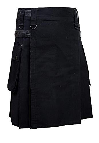 SHYNE KILTS U.K Herren Schwarz Lederriemen Mode Sport Utility Kilt Deluxe Kilt Verstellbar Größen - Schwarz, Schwarz, 34