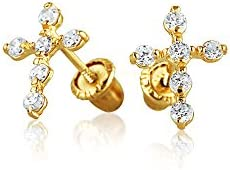 Bling Jewelry 14K Oro Amarillo CZ Cruz Seguridad para bebés Espárrago Screwback aretes
