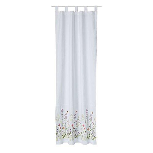miaVILLA Vorhang Blumen – Befestigung mit Schlaufen – halbtransparent – Baumwolle – ca. 110 x 240 cm