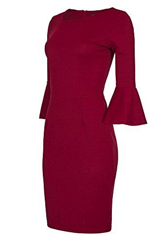 b635a83d6983 Laeticia Dreams Damen Kleid Knielang Trompetenärmel S M L XL,  Farbe Weinrot, Größe 38