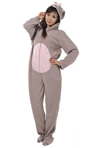 wotogold Tier Graues Kaninchen Pyjama Unisex Erwachsene und Kinder Cosplay Kostüme Gray (Kaninchen Zähne Kostüm)